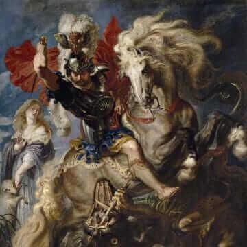 La lucha de san Jorge y el dragón. De Pedro Pablo Rubens