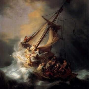 Христос во время шторма на море галилейском. Рембрандт ван Рейн